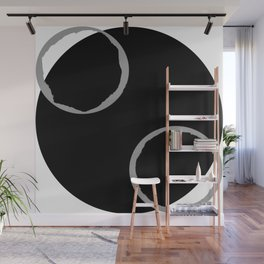 Two and One - Minimalist Black and White Abstract Wall Mural