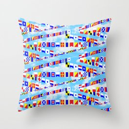 Maritime Signal Flags Pattern with Sailor Sayings Throw Pillow