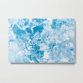 Blue White Marble Crystal Low Poly Geometric Triangles Metal Print