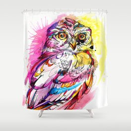Neon Northern Pygmy Owl Shower Curtain