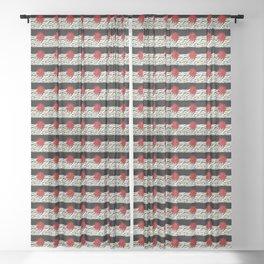 Animal Print Zebra Black and White and Red flower Medallion Sheer Curtain