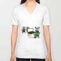 teacher V-neck T-shirts featuring Panda Teacher by WCVS Online