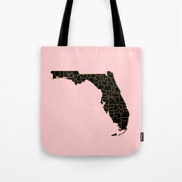 Pink and old Florida map Tote Bag