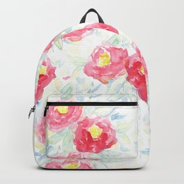 Abstract Watercolour Painted Pink Peonies Backpack