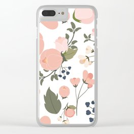 Pink Flower Pattern Clear iPhone Case