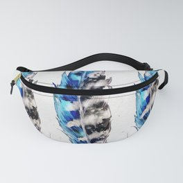 Three Blue Feathers Fanny Pack