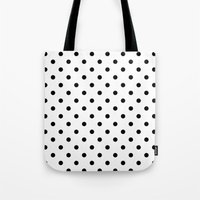 dots Tote Bags featuring Dots by Kings in Plaid
