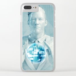 Business Man Using Digital Solutions Technology Concept Art Clear iPhone Case