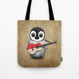 Baby Penguin Playing Indonesian Flag Acoustic Guitar Tote Bag