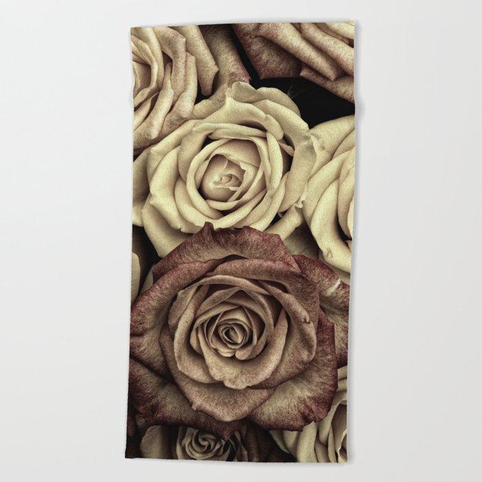 Brown Roses Beach Towel