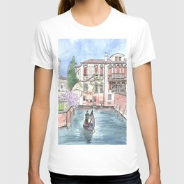 """""""Gondola in Venice"""" Watercolor and Ink Illustration T-shirt"""