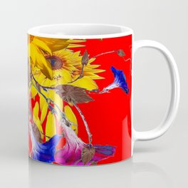Morning Glories, Sunflowers Red Abstract Coffee Mug