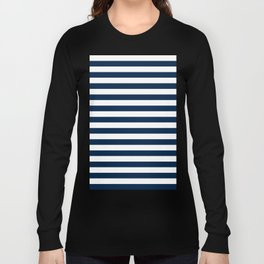 Narrow Horizontal Stripes - White and Oxford Blue Long Sleeve T-shirt