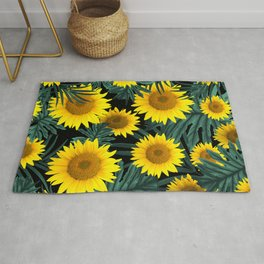 Tropical Sunflower Jungle Night Leaves Pattern #1 #tropical #decor #art #society6 Rug