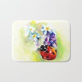 Ladybug In Blue Flowers, Lilac and Daffodils Bath Mat