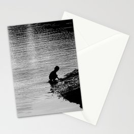 Simplicity in a moment with a child and a river - Black and White Photography Stationery Cards