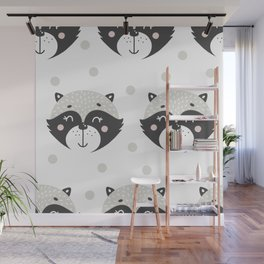 Baby Racoon - Racoon Baby Pattern Wall Mural