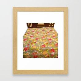 Tropical Fruit Print Kantha Bedspread / Blanket Framed Art Print