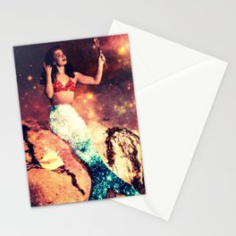 Galaxy Sparkle Mermaid Stationery Cards