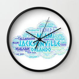 Cloud illustrated with cities of Florida State USA Wall Clock