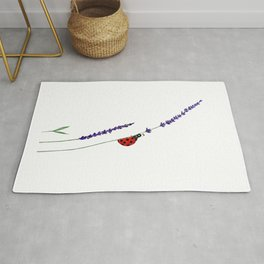 red ladybug and purple lavender Rug