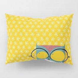 Peeking owl with glasses Pillow Sham