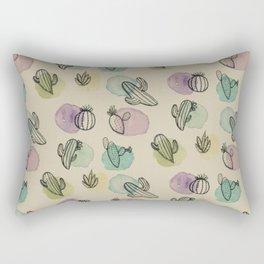 Cacti Watercolor Pattern Rectangular Pillow