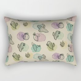 Cacti Watercolor Pattern Rectangular Pillow