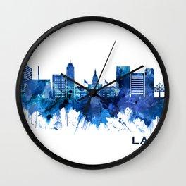 Lansing Michigan Skyline Blue Wall Clock