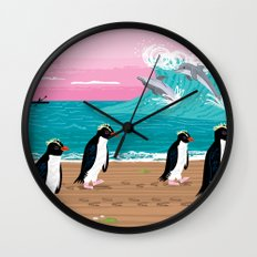 Penguins and Dolphins Wall Clock