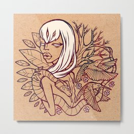 Forest Nymph [BROWN OUTLINE ] Metal Print