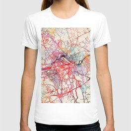 Lowell map Massachusetts painting T-shirt