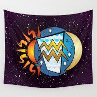 astrology Wall Tapestries featuring Astrology, Aquarius by Karl-Heinz Lüpke