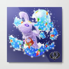 'You Cracked the Egg' Series - Easter Angelic Bunny with Premium Background Metal Print