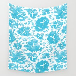Teal Watercolor Ink Splashes Cause Ribbons Wall Tapestry