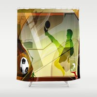 soccer Shower Curtains featuring Soccer by Robin Curtiss