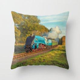 Mallard Steam Locomotive Throw Pillow