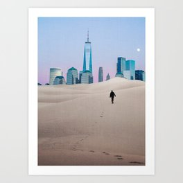 New York City Skyline in the Distance-Surreal Collage Art Print