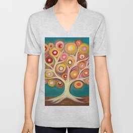 Tree of life with colorful abstract circles Unisex V-Neck