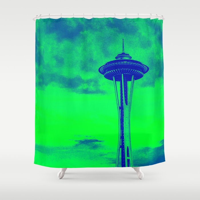 Space Needle Seahawks Colors Shower Curtain