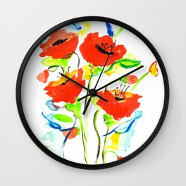 Poppies on Blue Wall Clock