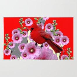 MODERN  RED ART PINK HOLLYHOCKS & RED CARDINAL BIRD Rug
