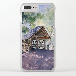Naperville Covered Bridge in Spring Clear iPhone Case