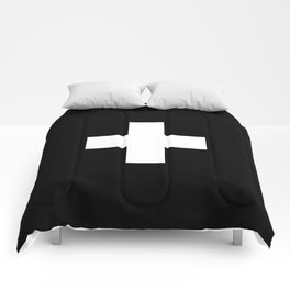 Swiss Cross Black and White Scandinavian Design for minimalism home room wall decor art apartment Comforters
