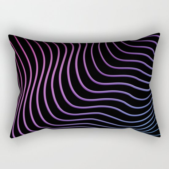 Neon Waves Rectangular Pillow