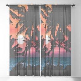 Summer Tropical Pink Orange Palm Trees Sunset Sheer Curtain