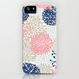 Floral Mixed Blooms, Blush Pink, Navy Blue, Gray, Beige iPhone Case