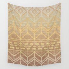 Neutral Tan & Gold Tribal Ikat Pattern Wall Tapestry