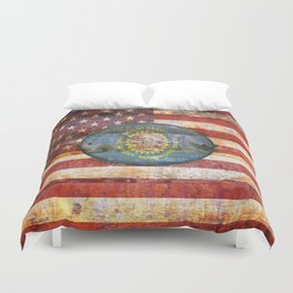 South Dakota flag on brown wooden planks. Duvet Cover