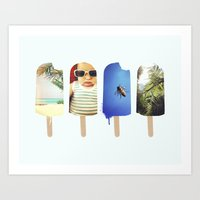 popsicle Art Prints featuring Popsicle by Jemma Pope
